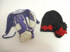 Lot of 2 Girl's Hats With Matching Mitten's Gloves Beanie Red Black Purple White