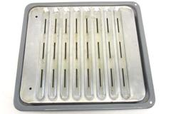 """Broiler Drip Pan And Tray Enamel Speckled With Silver Tone Aluminum 14"""" x 13"""""""