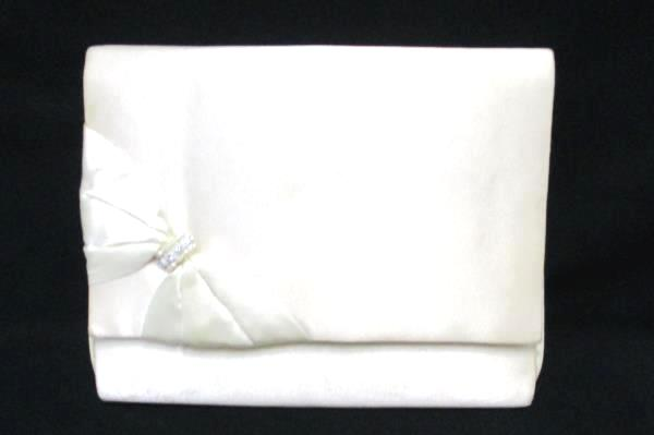 Vintage La Regale Eggshell Satin Purse Clutch Bow Rhinestone Detail