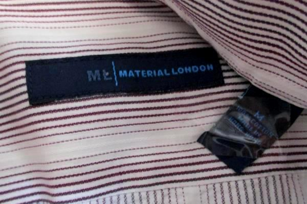 ML Material London Maroon White Long Sleeve Button Dress Shirt Men's M