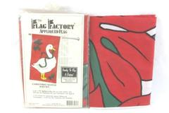 Lot of 2 Holiday Yard Flags The Flag Factory Christmas Goose Poinsettia