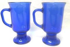 Set of 2 Vintage Cobalt Blue Mugs Pedestal Starburst Bottom Handle