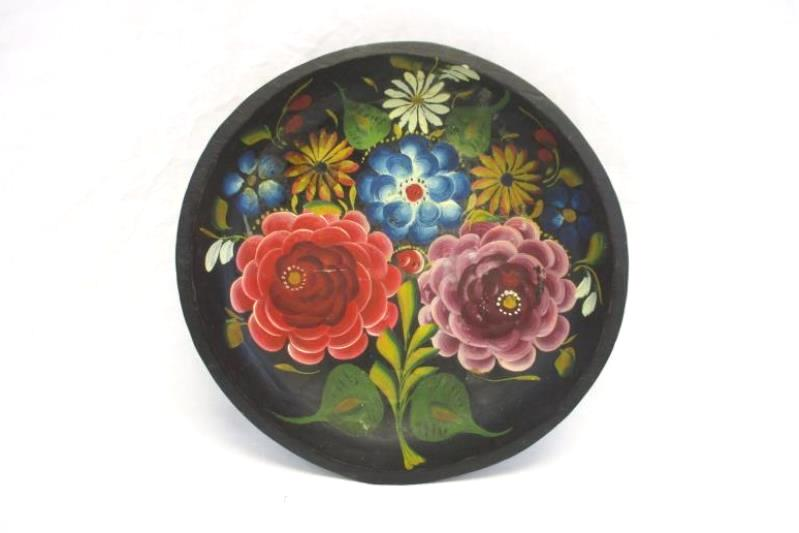 Vintage Decorative Wooden Serving Bowl Hand Tole Painted Floral Black Red Green