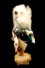 Hazelwoods Kachina Doll Wolf Wood And Fur Signed 13.5 in Tall Wood Base