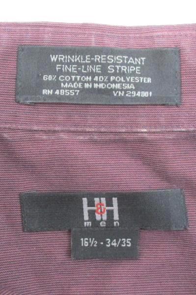 H&H Men's Maroon Wrinkly Resistant Fine-Line Stripe Button Shirt 16 1/2-34/35