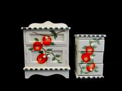 Michael's Jewelry Armoire And 3 Drawer Set White Red Apples Bathroom Wood