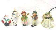 Lot of 5 Vintage Christmas Ornaments Bird Elf Angel Hobo Girl With Mandolin