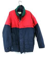EDDIE BAUER Goose Down Winter Coat Jacket Parka Vintage 90s Mens Large Red Navy