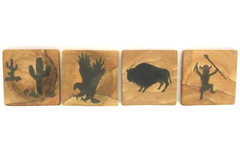Set of 4 Vintage Stone Coasters Cork Bottoms Buffalo Cactus Eagle Warrior Brown