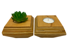 Set of 2 Wood Layer Planter With Forever Succulent Candle Crafted Decor