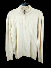 HATHAWAY Pullover Sweater Platinum 1/4 Zip Ivory 100% Lambswool Men's Medium