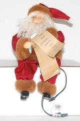 Sitting Santa Figurine Holding List Connects To Light String Lighted Movement