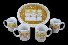 Set of 4 Hallmark Praying Angel Mugs With Serving Tray Peace Love And Joy