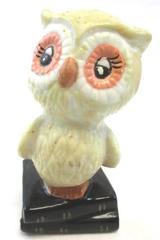Vintage Owl Figurine Owl Sitting On Books Pink Eyes Beige