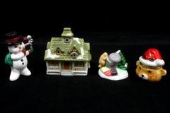 Lot of 4 Christmas Figurines Ceramic Snowman Bear Trinket House Cottage