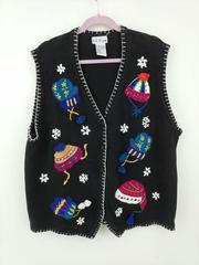 Vintage BP Design Ugly Christmas Sweater Vest Black Snowflakes Kitschy Size XXL