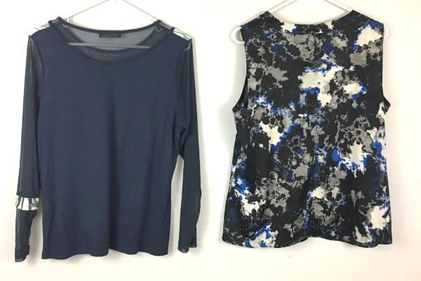 Lot Of 2 Women's Tops Gizel 212 Collection Blue White Black Shirts Size Large