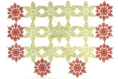 Lot of 21 Ornaments Red Gold Toned Glitter Snowflake Christmas