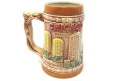 Vintage Chicago Brown Mug Travel Memorabilia Made In Japan