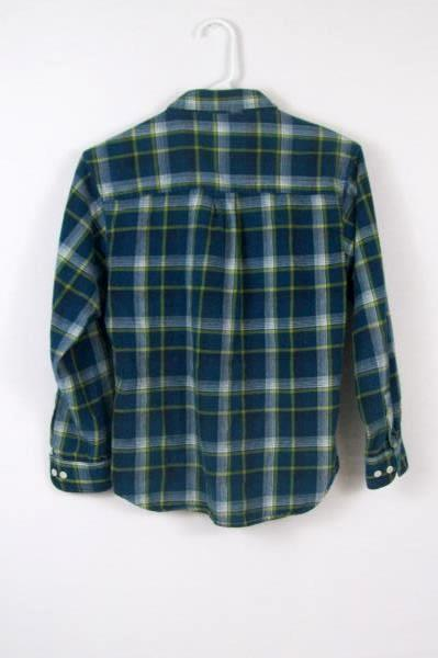 Old Navy Vintage Boy's Youth Yellow Blue Flannel Size Large