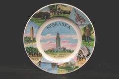 Vintage Aquality Product Glass Nebraska Plate Travel Memorabilia Hanging Decor