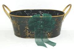 Metal Green Gold Toned Christmas Basket Table Decor Gift Bow Handles