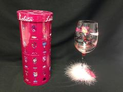 "Lolita Collector's ""Single and Lovin It"" Hand-Painted Stem Wine Glass 15 oz Pink"