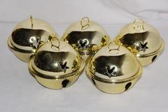 """Lot of 5 Round Brass Bell Christmas Ornaments 3.5"""" Diameter Star Cut Outs"""