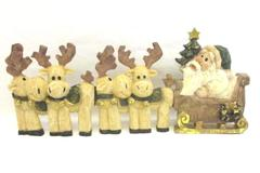 Imagination In Action Santa And Reindeer Resin RC 7696