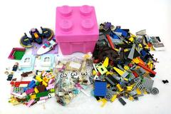 Large LEGO Lot 3 lb Bat Girl, Friends, & Misc with Pink Brick Storage Bin