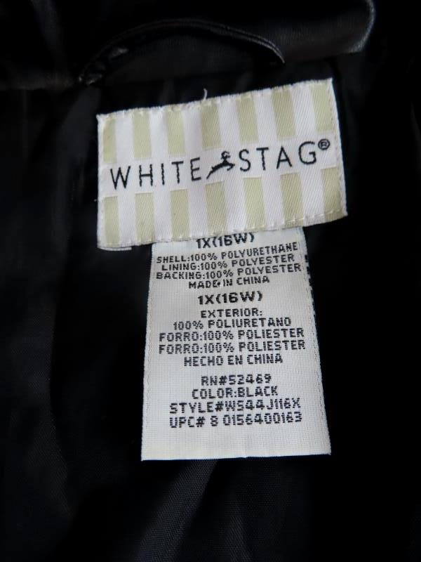 White Stag Jacket Coat Soft Faux Leather Black  Button Down Women's Size 1X 16W