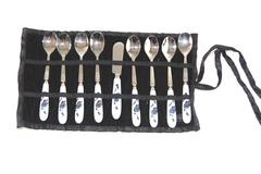 Set of 9 Pieces Of Silverware For Tea Parties Small Stainless 18-10 Case Blue