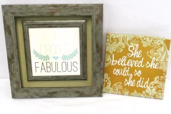 2 Inspirational Wall Quotes She Believed She Could & Framed I Choose Fabulous