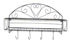 Wrought Iron Hanging Wall Rack With Shelves Hooks Black Hearts
