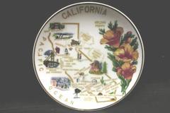 Vintage CNC Glass California Plate Travel Memorabilia Hanging Decor