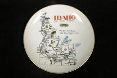 Vintage Norcrest Japan Glass Idaho Plate Travel Memorabilia Hanging Decor