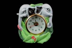 Resin Elephant Table Clock Tropical Leaves and Flowers Gray Green