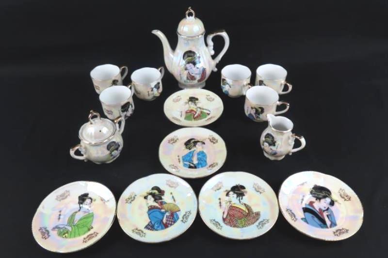 Hand Painted S.S. Iridescent China Tea Set For Six From Japan Geisha Girls