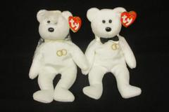Ty Beanie Babies Babies 2001 Bride and Groom Wedding Bears MR & MRS