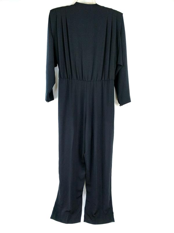 Vintage Liz Claiborne Jumpsuit Black Long Sleeve Wrap Shoulder Pads Size 8