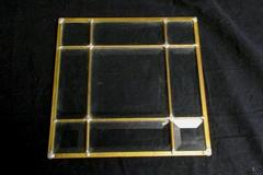 French Window Inspired Center Piece Decorative Plate Glass Brass Candle Holder