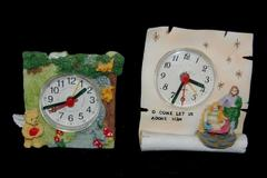Lot of 2 Miniature Clocks O Come Let Us Adore Him Angel Bear Collectible