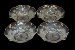 Set of 4 Textured Pressed Glass Floral Bowls Ruffle Edge Dessert Bowls