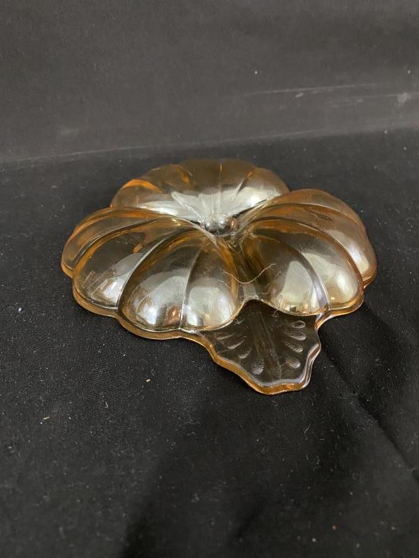 Jeannette Doric Iridescent Marigold 3 Part Divided Clover Shaped Candy Dish