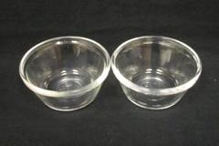 Set of 2 Vintage Anchor Hocking Clear Glass Custard Cups 6 oz USA Made