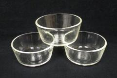 Set of 3 Vintage Fire King Custard Cups Anchor Hocking Clear Glass  6 oz USA