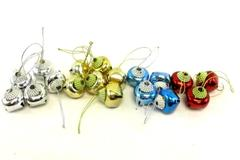 Lot of 18 Metal Christmas Bells Gold Silver Red Blue