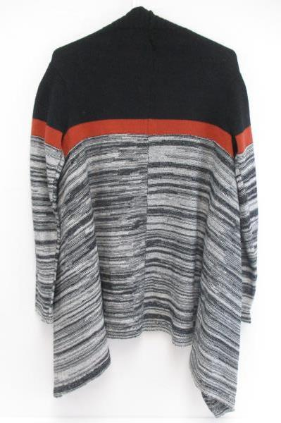 Love by Chesley Women's Sweater Cardigan Sz Small Juniors Striped Gray Red Black