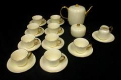Vintage Kaslware Demitasse China Tea Set 24 Pieces Beige And Gold Gild Rare