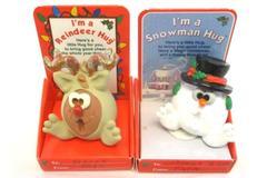 1996 The Hug Factory Snowman And Reindeer Hugs